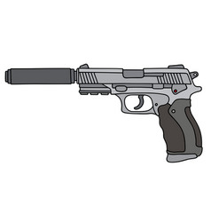 Handgun with a silencer vector