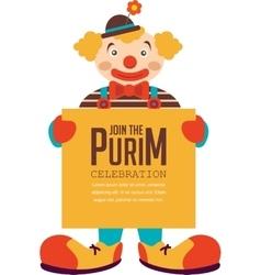 Happy purim jewish holiday clown holding vector