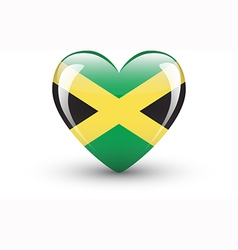 Heart-shaped icon with national flag of Jamaica vector image