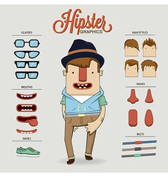 Hipster character with character elements and vector image vector image