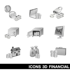 Icon Set 3D Financial vector image