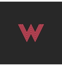 Initial letter w logo pink line monogram symbol vector