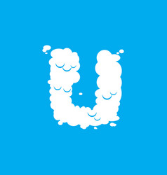 Letter u cloud font symbol white alphabet sign on vector