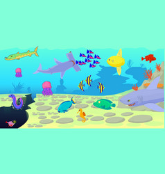ocean fish scene horizontal banner cartoon style vector image