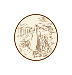 Olive Oil Jar Cheese Tuscan Countryside Etching vector image