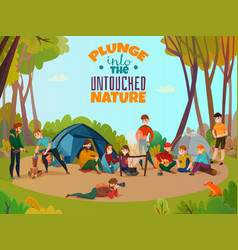 Outdoor encampment doodle composition vector