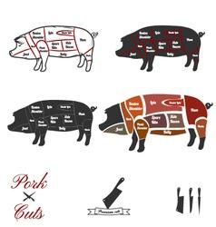 Pork cuts vector image vector image