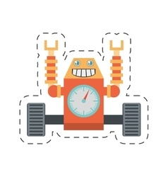 Robot clock laungh rocket clock cutting line vector
