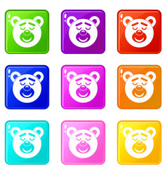 Sleeping teddy bear icons 9 set vector