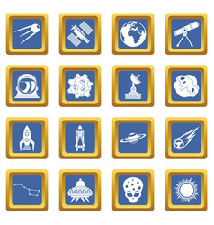 Space icons set blue vector