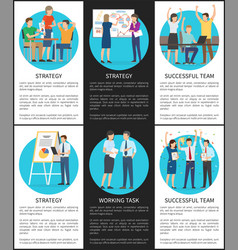 Successful team strategy cards vector