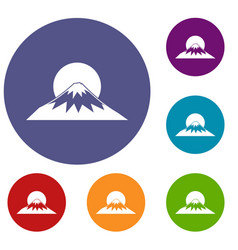 Sun and mountain icons set vector