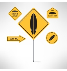 Surfing board road signs set vector