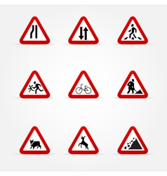 Warning traffic signs vector image