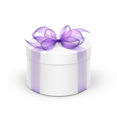 White round gift box with light purple violet vector