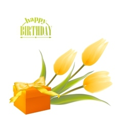 Yelllow tulips and gift box vector image