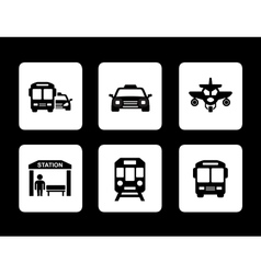 set of black transport icons vector image