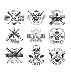 Street outlaw criminal club black and white sign vector