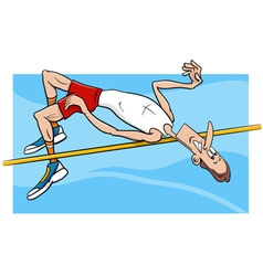 High jump sportsman cartoon vector