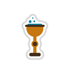 paper sticker on background of cup potion vector image