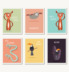 six greeting cards with cute wild animals and vector image