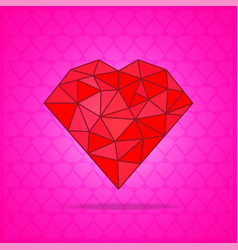 Red abstract polygonal heart on pink background vector