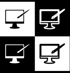 Monitor with brush sign  black and white vector