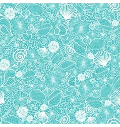 Blue seashells line art seamless pattern vector image