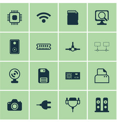 Set of 16 computer hardware icons includes web vector