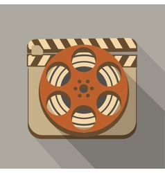 Flat long shadow cinema icon vector