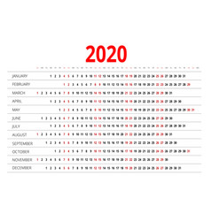 2020 calendar print template week starts sunday vector image vector image