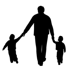 Father with two children on white vector