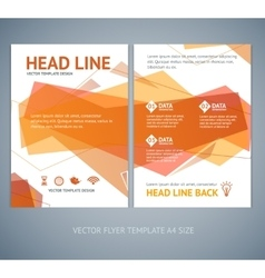 Abstract geometric orange wave brochure vector
