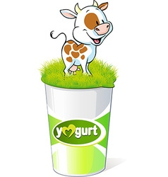Plastic container for yogurt with funny cow - vector