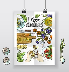 Beautiful hand-draw poster i love cooking vector