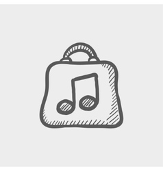 Shopping bag with music note sketch icon vector