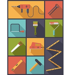 Home improvement tools flat icons vector