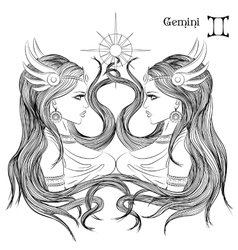Astrological sign of gemini as a beautiful girl vector