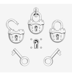 Padlock with key vector