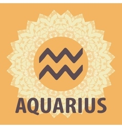 Aquarius water bearer zodiac icon with mandala vector