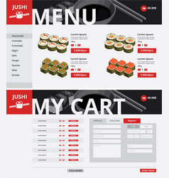 Asian food website page template vector