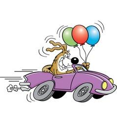 Cartoon dog in an automobile vector