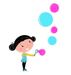 cute little girl blowing soap bubbles vector image vector image