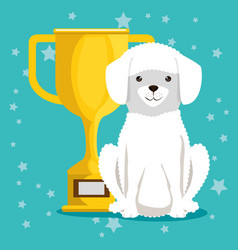 Dog with trophy pet friendly vector