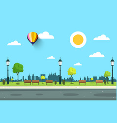 empty park with lamps trees and road vector image vector image