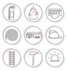 Fire fighter icons line vector