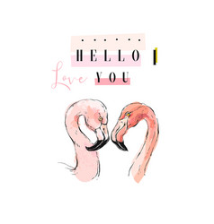 flamingo couple in love vector image