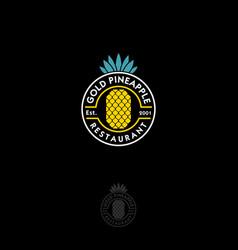 gold pineapple logo restaurant emblem vector image