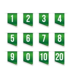 Green ribbons with number set vector image vector image