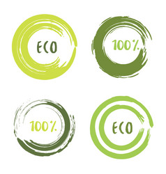 green set with circle brush strokes for frames vector image vector image